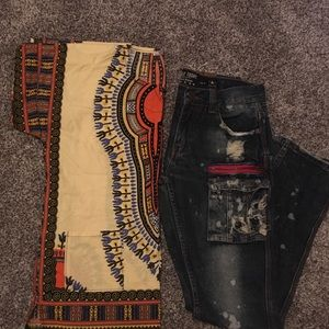 Other - Boys tribal print shirt Lg and jeans 14